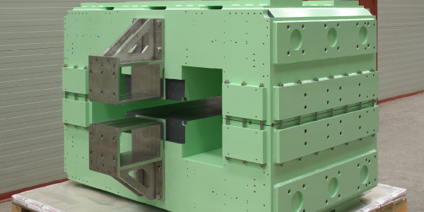 Yokes manufactured in welded stacks of 1 mm thick electrical steel laminations